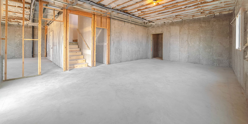 cement basement and garage-floors